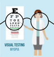 eye vision test myopia vector image