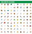 100 keys icons set cartoon style vector image