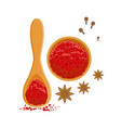 paprika powder in wooden bowl and spoon colorful vector image