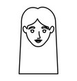 monochrome contour of smiling woman face with vector image