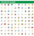 100 keys icons set cartoon style vector image