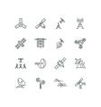 Orbit communication satellite line icons vector image vector image