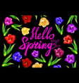 Chalk spring template Hello spring Spring blossoms vector image