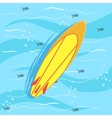 Surfing Board With Blue Sea Water On Background vector image
