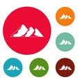 travel to mountain icons circle set vector image