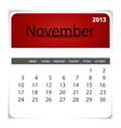 2013 calendar November vector image vector image