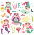 set of isolated mermaid with marine animals vector image
