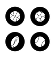 Sport balls black icons set vector image