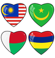Set of images of hearts with the flags of Malaysia vector image
