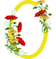 Frame with bouquet poppies and dandelions vector image