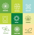 Abstract flower organic natural food logo badge vector image