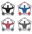 Bodybuilder Fitness Model with barbell labels set vector image