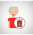 man elderly with gift graphic vector image