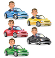 Men Driving Convertible vector image