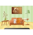 Room with a bouquet and sofa vector image
