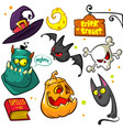 set of halloween pumpkin and attributes witch cat vector image