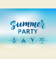 summer party text beach party poster nautical vector image