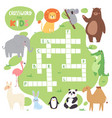 kids magazine book puzzle game of forest animals vector image