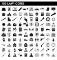 100 law icons set simple style vector image