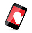 Cell phone with white heart on red screen vector image