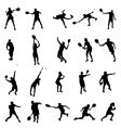 tennis silhouettes collection vector image vector image