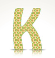 The letter K of the alphabet made of Kiwi vector image