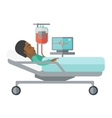 Patient lying in bed vector image