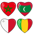 Set of images of hearts with the flags of Mali vector image vector image