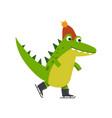 funny cartoon crocodile character skating wearing vector image