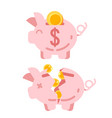 piggy bank with golden vector image