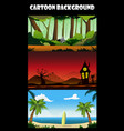 three cartoon backgrounds vector image