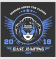 wingsuit flying base-jumping sport emblem vector image