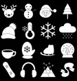winter icons with black background vector image