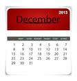 2013 calendar December vector image vector image