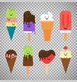 ice cream icons on transparent background vector image
