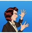 Angry Shouting Woman Furious Girl Pop Art vector image