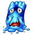 A horrified blue monster vector image