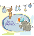 baby boy birthday card with elephant vector image