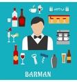 Barman and bartender flat icons vector image