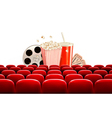 Cinema background with a film reel popcorn drink vector image