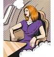 Girl siting and looking out the airplane window vector image