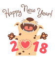 happy 2018 new year card funny puppy vector image