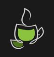 herbal green tea cup symbol icon on black vector image