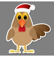 Rooster in Santa hat isolated on grey background vector image