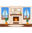 Classic living room interior with fireplace and vector image