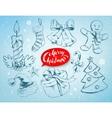Christmas set on soft blue winter background vector image