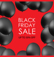black balloons on red background with inscription vector image