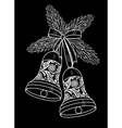 Black and white silhouette of a bell with a floral vector image