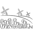 Windmill and tulips vector image vector image