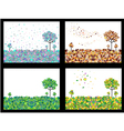 4 seasons geometric background set vector image